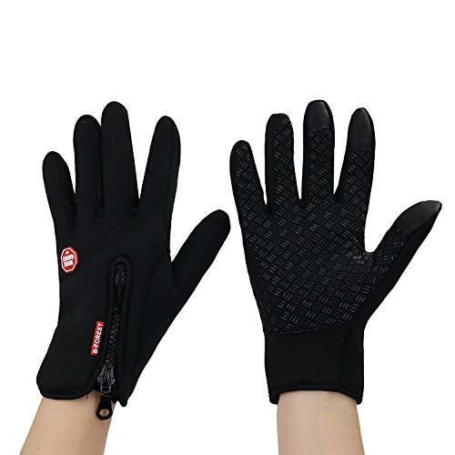 Eizur Windproof Skidproof Touchscreen Sports Gloves Unisex Winter Outdoor Waterproof Thermal Full Finger Gloves for Cycling Skiing Hiking Hunting Climbing Camping for Men Women Black--Size S
