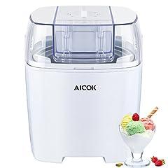 Idea Regalo - Aicok Macchina Per Gelati Frozen yogurt e Sorbetti MacchinaBasso Consumo Energetico Con Funzione Timer e Ricettario 1.5L, Colore Bianco