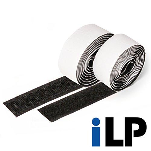 iLP Cinta de vector negra autoadhesiva - 1 metro de largo aproximadamente, 20 mm de ancho - Fijación segura extra fuerte para el trabajo de bricolaje - 1 rollo de cinta de velcro y gancho