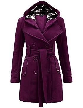 LemonGirl Abrigo de chaqueta larga con capucha de invierno de doble botonadura de las mujeres