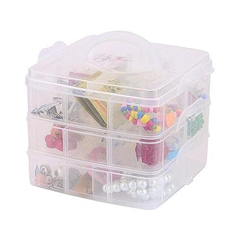 DJUNXYAN 3-stöckige 18 Fächer Aufbewahrungsbox für Spielzeug, Schreibwaren, Schmuck und andere Kleinteile, 3-stöckig, stapelbar, transparent, verstellbare Fächer, Kunststoff, in 4 pastelligen Farben und 3Größen erhältlich, (weiß, Mittel)
