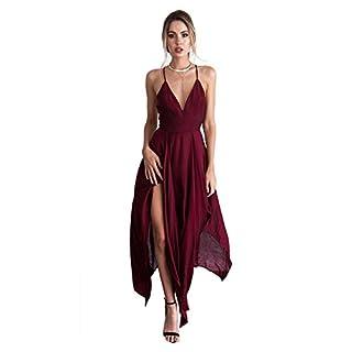 ZNYSTAR Frauen mit V-Ausschnitt Elegante Backless Lange Kleid Sling Kleid Strandkleid (XL, rot)