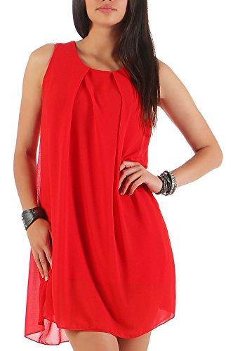 malito elegantes Kleid Chiffon Rückenfrei 6877 Damen One Size Rot