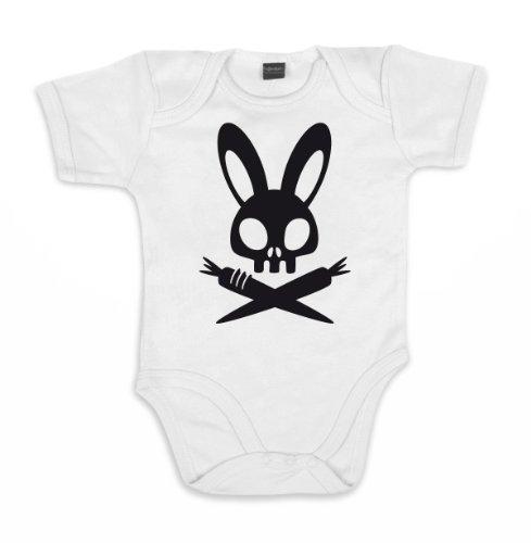 ::: BAD BUNNY ::: Baby Body, Weiß /Schwarz, Größe 12-18 (Kostüm Bunny Baby Oster)
