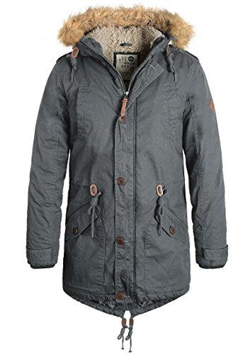 SOLID Clark Teddy Herren Parka lange Winterjacke aus 100% Baumwolle mit Kapuze und Kunstfellkragen, Größe:M, Farbe:Dark Grey (2890)