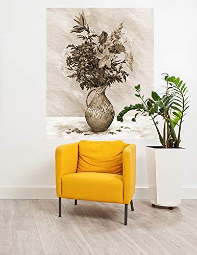 Papier Peint intissé - Bouquet de Natures mortes dans Une cruche en Pierre - Vintage - 100x120 cm - pâte Inclus - Tableau Mural - Affiche Murale - Images murales
