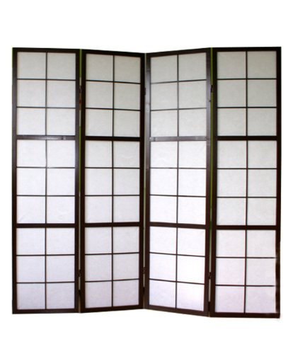 PEGANE Biombo japonés de Madera Negro 4 Paneles