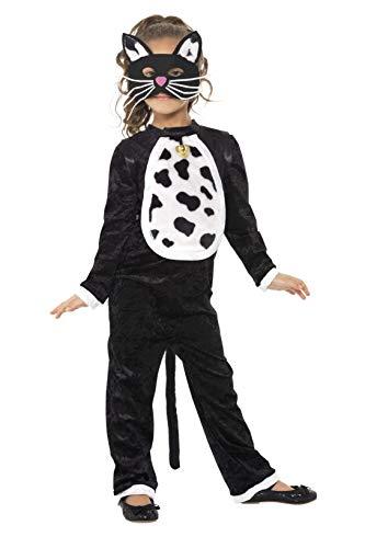 Smiffys Kinder Katzen Kostüm für Mädchen, Bodysuit, Glöckchen und Maske, Größe: S, - Tier Bodysuit Kostüm