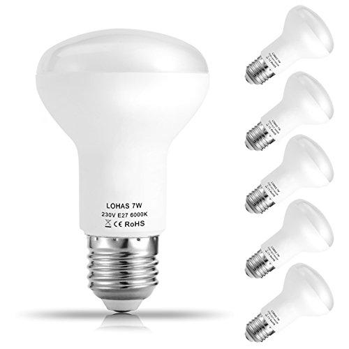 5er Pack LOHAS® 7W E27 LED Lampen, Reflektor Reflektorlampe R63, Ersatzfür60WHalogenlampen, 560 lumen, Kaltweiß 6000K, 120°Strahlwinkel, LEDLampe, LED Birnen, LED Leuchtmittel