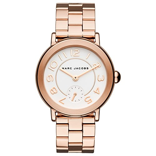Marc Jacobs Women's Quartz Watch with Beige Dial Analogue Display and Rose Gold Stainless Steel Bangle MJ3471