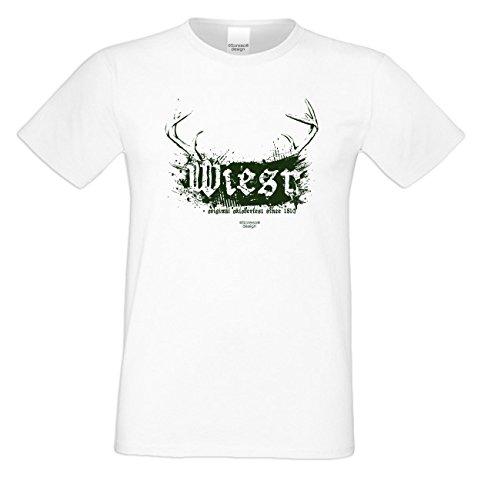 Wiesn - Herren T-Shirt - Oktoberfest-Motiv Geweih Wild Volksfest Trachtenshirt Tolles Geschenk für Männer Farbe: weiss Weiß