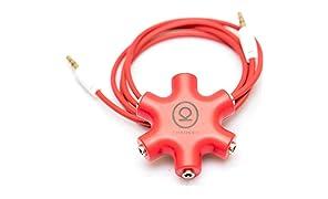CHKOKKO 3.5 mm 5 Way Jack Stereo Audio Headset Headphone Earphone Hub Splitter Connector Adapter, RED