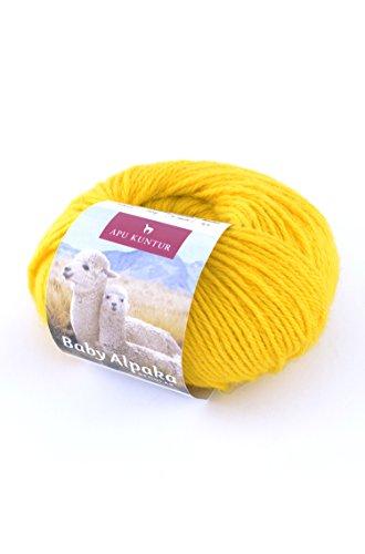 Baby-Alpaka Woll-Knäuel REGULAR 50g 100m Nadel 4 Strick-Häkel-Garn APU KUNTUR zitronen-gelb