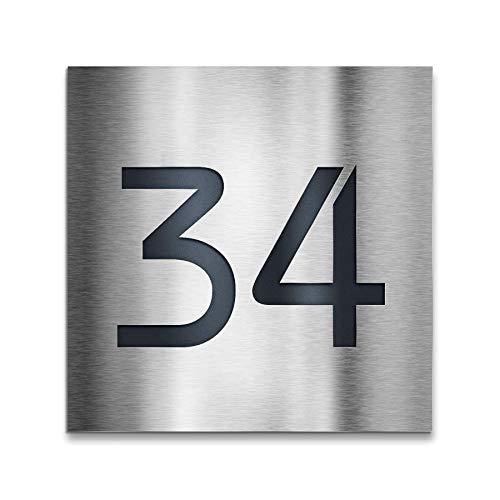Design Hausnummer-Schild Edelstahl-Plakette - inklusive Gravur-Service & Montage-material - Aufputz-Montage (20 x 20 cm)