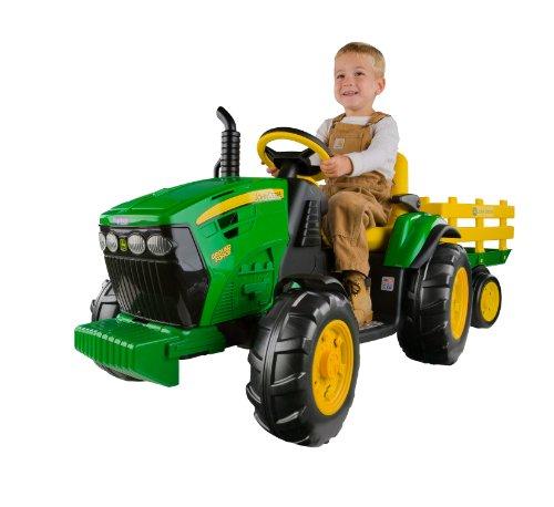 John Deere Ground Force Kinder Elektro Traktor von Peg Perego 12 Volt mit Anhänger thumbnail
