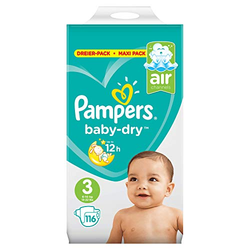 Pampers Baby-Dry Windeln, Gr.3, 116Windeln, für Atmungsaktive Trockenheit