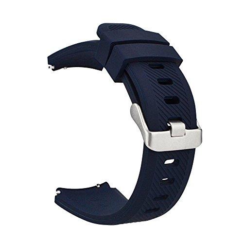 MroTech 22mm Armband kompatibel für Samsung Gear S3 Frontier Classic, Galaxy Watch 46mm Silikonarmband Uhrenarmband für Fossil Herren, Pebble Time, Moto 360 2 46mm, LG G Watch -silikon Dunkelblau - 23mm Uhrenarmband Silikon