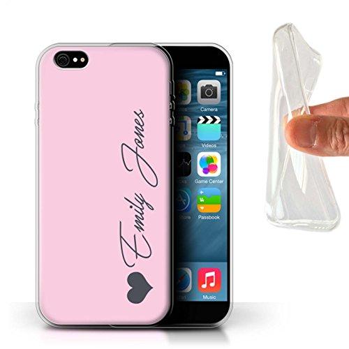 Personalisiert Individuell Pastell Töne Gel/TPU Hülle für Apple iPhone 7 / Korallen Herz Design / Initiale/Name/Text Schutzhülle/Case/Etui Rosa Herz