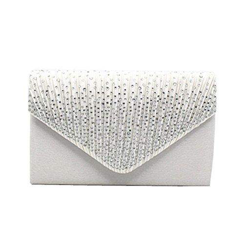 Abend Strass Tasche Plissee Bag Hochzeit White Umschlag Schultertasche Geldbörse Für Elegante Handtasche Lady Frauen Clutch E0qap