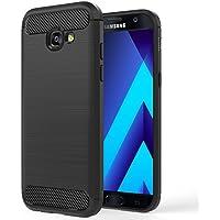 MoKo Coque Samsung Galaxy A5 2017 - en Prémium Fibre de carbone Ultra-Léger, Caoutchouc TPU Souple Anti-chocs pour Galaxy A5 5.2 Pouces Modèle 2017, Noir (non adapté à Galaxy A5 2016)