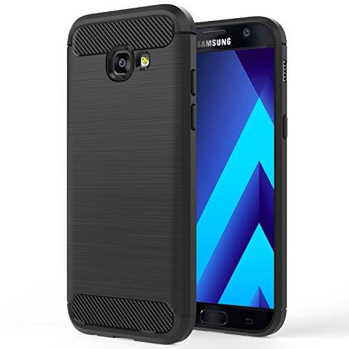 MoKo Galaxy A5 2017 Case - [Slim Fit] Custodia Protettiva Morbido TPU Design in Fibra di Carbonio con Doppio Stratto Shock-Assorbente per Samsung Galaxy A5 2017, Nero (NON per Galaxy A5 2016)