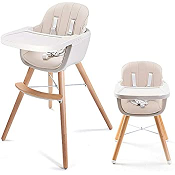 1c9446f96fd8 Asunflower Wooden High Chair 3 in 1 Convertible Modern Highchair with  Cushion