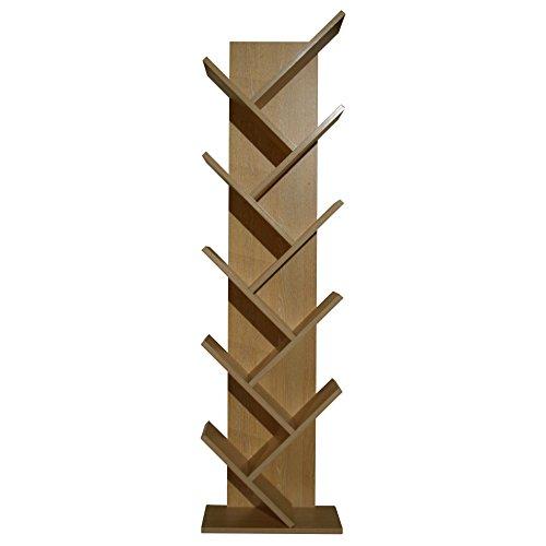 Mobili rebecca® scaffale libreria 10 ripiani legno rovere scuro stile contemporaneo salotto ufficio (cod. re4791)