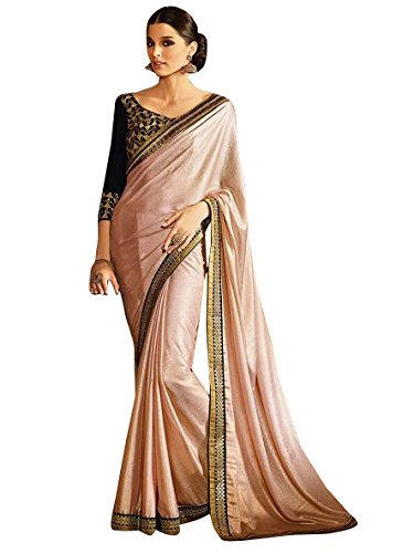 Manish Creation Women's Shimmer Georgette Half and Half Embroidered Party Wear Saree...