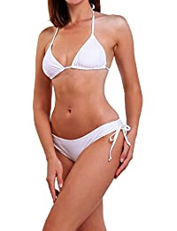 Womens Triangle Bikini Sets Push up Top Halter Swimsuits with Removable Padding Swimming Costume