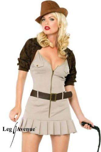 Leg Avenue - Miss Indiana Jones Kostüm 4-teilig - ML - Braun - (Jones Indiana Peitsche Kostüm)