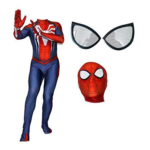 JUFENG Spider-Man Siamese Strumpfhosen Anime Game Cosplay (Kopfbedeckungen Können Getrennt Werden) Halloween Charakter Performance Kostüm,B-Adult-XXL