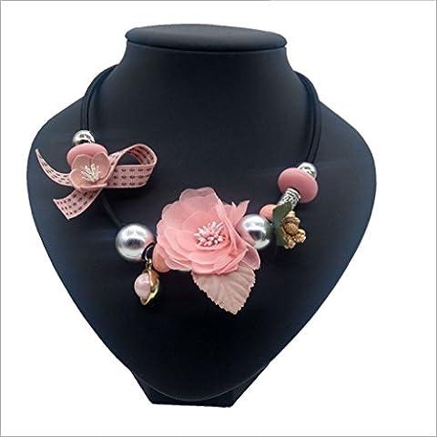 Women Handmade Retro Necklace Jewelry Cloth Flowers Pendant Chain Necklace Aeroty