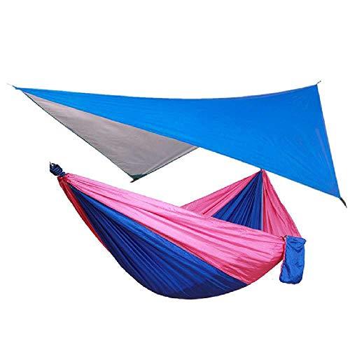 DARLING Outdoor Rain Fly Tarp und Camping Hängematte Tragbare Hängematte Canopy Leichtgewicht Nylon Hängematten und Sonnendeck Outdoor Möbel Blau und rosa