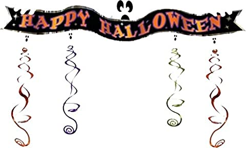 Special Occasion Party Room Decor Happy Halloween Ghost 3d Foil Swirl Banner Uk