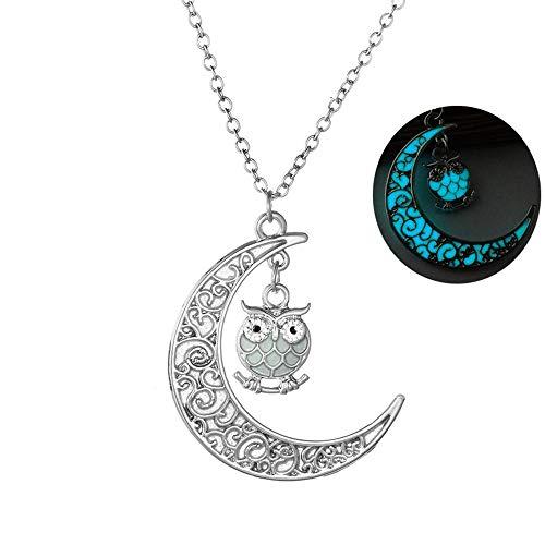 Da.Wa Luminous Serie Eule Mond Halskette Fluoreszierende Halskette Glühen in der Dunkelheit (Blau)