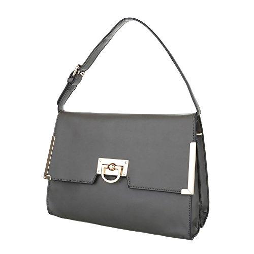 Damen Schultertasche Handtasche Tragetasche Shopper Schwarz Blau Braun Grau Rot Grau