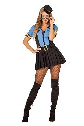 The Fantasy Tailors Polizei Kostüm Damen Kleid mit Rock Blau Schwarz kurz Polizei-Uniform Police Polizist Polizistin Karneval Fasching Hochwertige Verkleidung Fastnacht Größe 38 Blau -