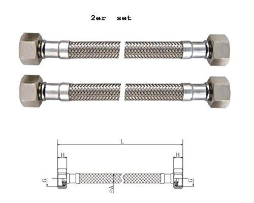 """Preisvergleich Produktbild 304 Edelstahl Panzerschlauch, Flexschlauch, 3/8""""ÜM X3/8""""ÜM, Länge 300mm, DN8, für Trinkwasser mit DVGW Zulassung, 2-er Set (300mm)"""