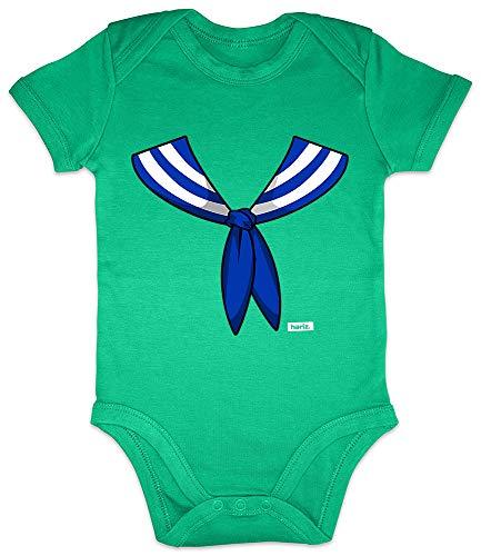 HARIZ Baby Body Kurzarm Matrose Kragen Kostüm Karneval Kostüm Plus Geschenkkarten Frosch Quietsch Grün 3-6 Monate