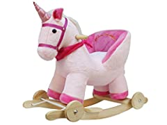 Idea Regalo - Dunjo® Unicorno a dondolo con poltroncina in peluche | basculante in legno e ruote per il galoppo | suoneria | 12-36 mesi