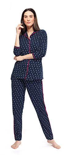 115deabb5b ZEYO Womens Cotton Navy Blue Night Suit   Night Shirt
