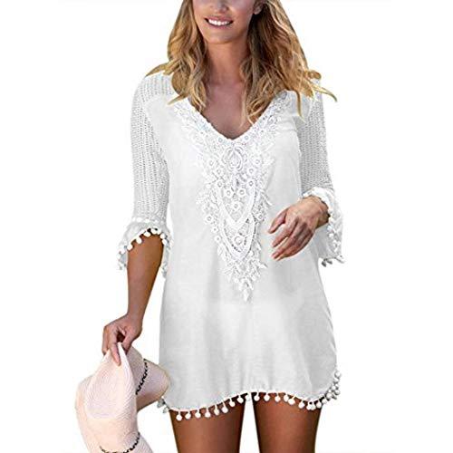 Swteeys Beiläufige Strandbekleidung für Damen Langarm-Bikinihüllen Pareos & Strandkleider
