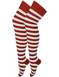 Karma Damen rot weiß gestreiften über das Knie Socken