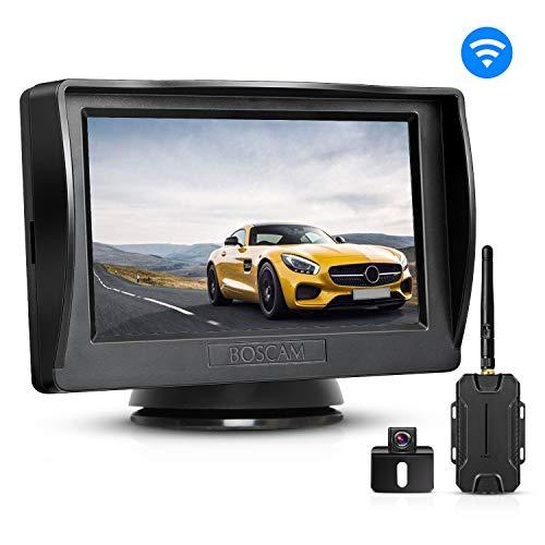 """Rückfahrkamera und Monitor Set BOSCAM K1 Wireless Einparkhilfe mit 14.4 cm/4.3\"""" Zoll LCD Farbdisplay Rear View Monitor und IP68 wasserdichte Kamera für Auto, Bus, Schulbus, Anhänger"""