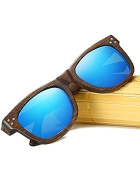 KITHDIA Polarizadas Gafas de Madera de Bambú Gafas de Sol Lentes de madera vintage y espejos de anteojos Gafas...