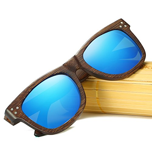 KITHDIA Polarizadas Gafas de Madera de Bambú Gafas de Sol Lentes de madera vintage y espejos de anteojos Gafas de sol de los hombres Gafas de sol de moda modelo