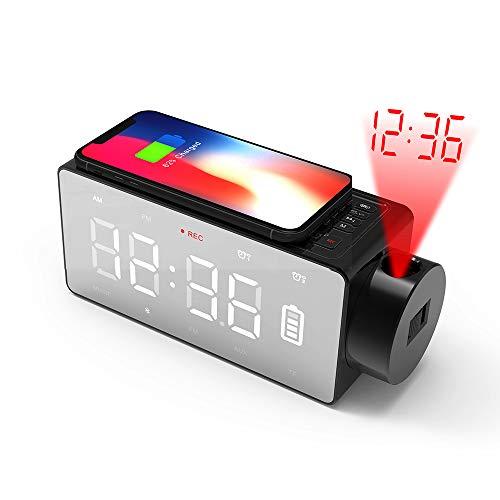 Reloj Despertador con Cargador Inalámbrico Rápido e Inteligente 4-en-1, Bluetooth Music Speaker Reloj Despertador para iPhone 8 / 8X LED Espejo Proyector Digital con Radio FM/Puerto de Carga USB