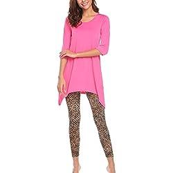 Avidlove Mujer Camisón Ropa Interior en Casa Conjunto Camiseta y Legging Manga 3/4 Estampado de Leopardo