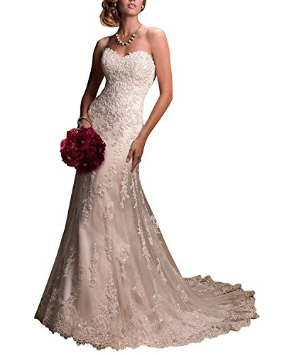 Fanciest Damen Overlay Spitzen Brautkleider Meerjungfrau Wedding Kleider White UK20