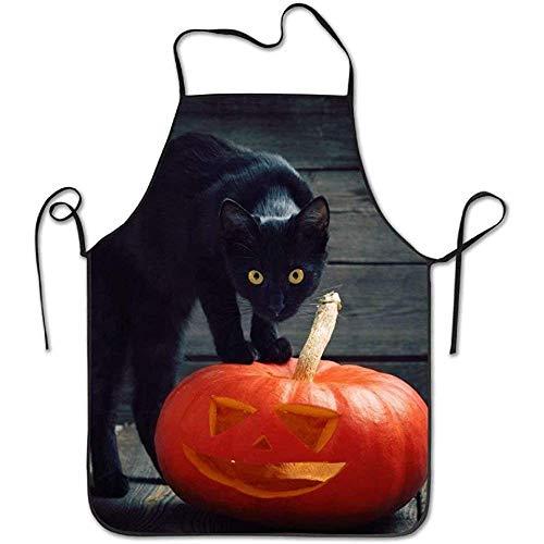Schwarze Katze Halloween Kürbis Deluxe Cute Schürzen Chef Küche Kochen und Männer & Frauen Backen Lätzchen BBQ Schürze